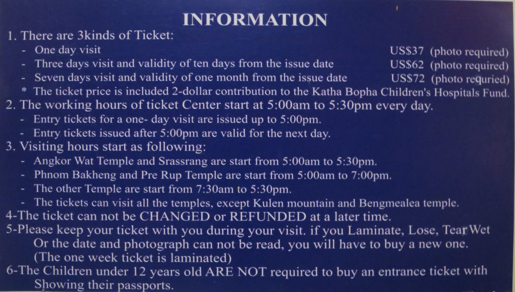 Information am Ticketschalter in Angkor