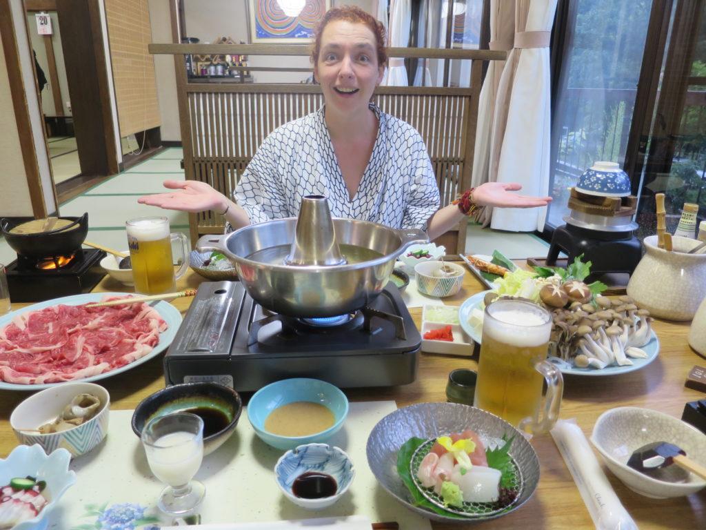 Abendessen im Suimeikan Karukaya Sanso in Shin Hotaka Onsen